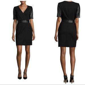 The Kooples Leather Short Sleeve Dress